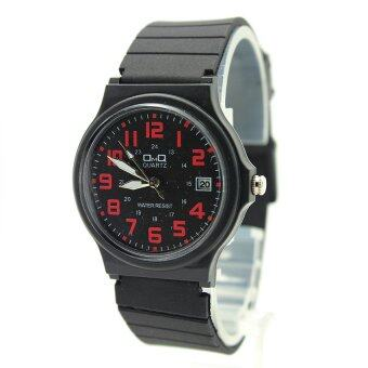 OMQ นาฬิกาข้อมือชาย-หญิง และเด็ก สายยาง ระบบเข็ม หน้าดำ เลขแดง มีวันที่ - OMQ004