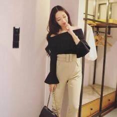ราคา Open Shoulder Flutter Long Sleeve Black Color Free Size เสื้อดีไซน์สวย เรียบ หรู Int One Size ใหม่