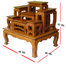 ขาย ซื้อ โต๊ะหมู่บูชา หมู่ 7 ขนาดความกว้างแต่ละโต๊ะ 5 นิ้ว โต๊ะหมู่บูชา 7 หน้า 5 ผลิตจาก ไม้สัก