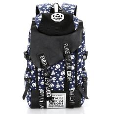 ส่วนลด Otzi กระเป๋าเป้สะพายหลังแฟชั่น แบ็คแพ็คสไตส์เกาหลี ผ้าแคนวาสลายกระต่าย สีน้ำเงิน Unbranded Generic