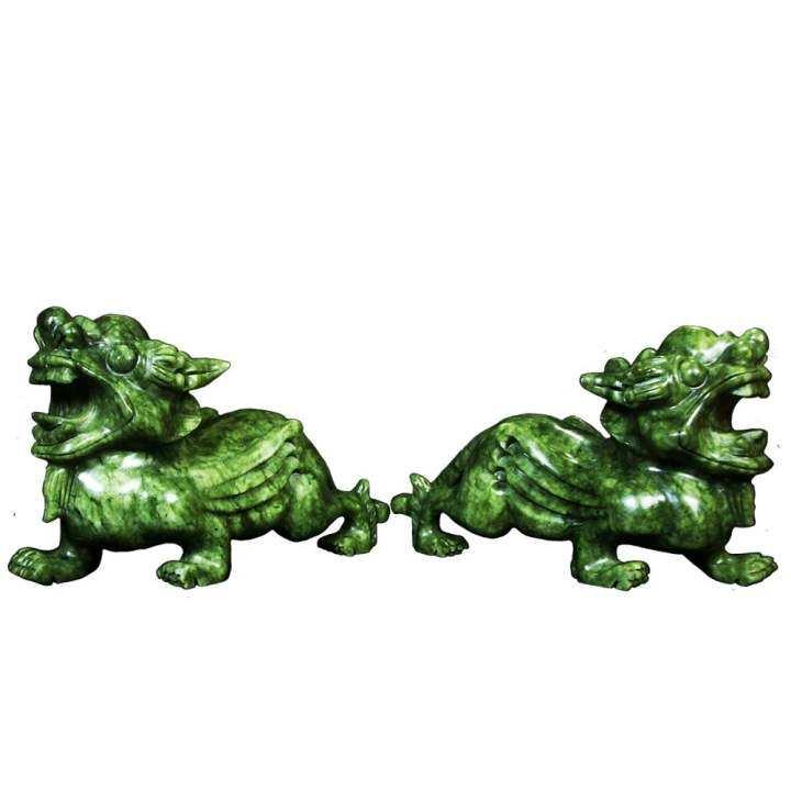 ซื้อที่ไหน Otzi ปี่เซียะหยก ผี่ซิวหยก หยกแกะสลัก สีเขียว คู่ ของตกแต่งบ้าน ขนาด 18ซม.
