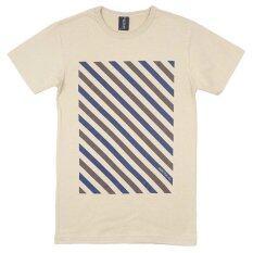 ราคา Over The Sky T Shirt กราฟฟิค เสื้อยืดคอกลม ริ้วแฟนซีเต็มตัว Lines สีครีม ใหม่