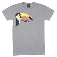 ทบทวน Over The Sky T Shirt กราฟฟิค เสื้อยืดคอกลม นกเงือกอนุรักษ์ธรรมชาติ Toucan Bird สีเทาอ่อน Over The Sky