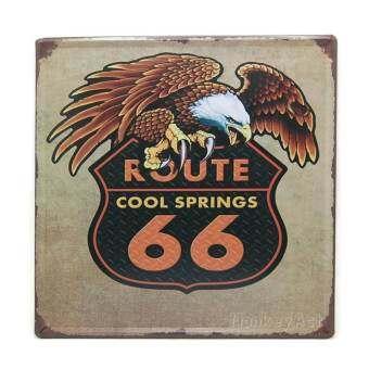 ป้ายสังกะสีวินเทจ Route 66 Cool Springs, ขนาด 30x30 ซม-