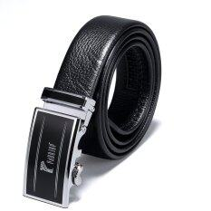 ทบทวน ที่สุด Pabojoe Business Leisure First Layer Leather Silver Automatic Buckle Belt 120Cm Black