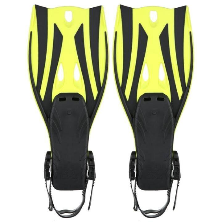ราคา Pair of Wave Snorkeling Open Heel Fins Flippers – Size S/M (Yellow