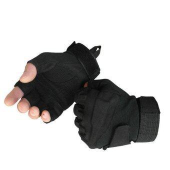 Parbuf ถุงมือทหาร ฟิตเนส จักรยาน กีฬาต่างๆ BLACKHAWK ครึ่งนิ้ว size L - สีดำ