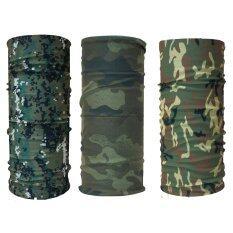 ขาย Parbuf ผ้าอเนกประสงค์ ป้องกัน Uv Set Camo 3 ผืน Set 2 ลายทหาร สีเขียว ถูก
