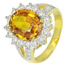 ราคา Parichat Jewelry น้ำหนักพลอย 4 86 กะรัต แหวนทองแท้ 18K ขนาดไซส์ 7 ประดับพลอยบุษราคัมสีเหลืองและเพชรเบลเยี่ยมสีขาว ใหม่