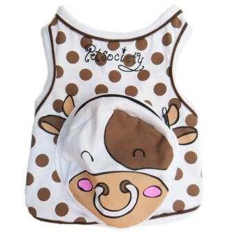 PetSociety เสื้อสุนัข เสื้อแมว ลายจุด แต่งกระเป๋า หน้า 'วัว' - สีขาวจุดน้ำตาล-