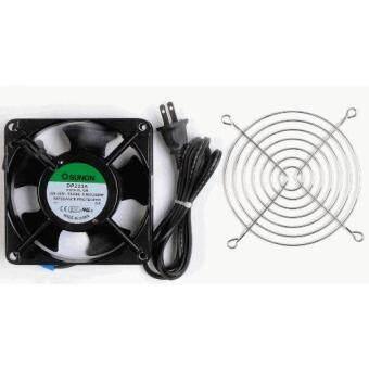 พัดลมระบายความร้อน SUNON สติ๊กเกอร์เขียว ของแท้ Cooling fan220-240V DP203A 2123LSL.GNพร้อมตะแกรงชุบโครเมียม 4.5 นิ้ว และสายไฟสีดำ 1.5 เมตร พร้อมปลั๊กเสียบ