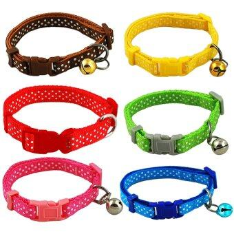 Polka Dot Print Nylon Dog Puppy Cat Collar 6 Colors