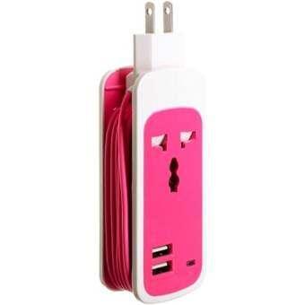 ปลั๊กไฟ แบบพกพา 3 in1 Universal Dual USB Socket (สีชมพู)-