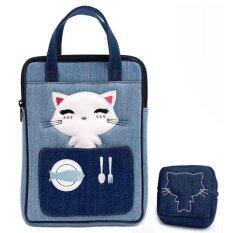 Plume Moon กระเป๋าถือ หญิง สำหรับ Ipad Air พร้อม กระเป๋าใส่เหรียญ ผ้ายีนส์ น้ำเงิน ฟ้า เป็นต้นฉบับ