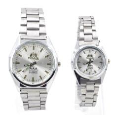 Pomar นาฬิกาข้อมือคู่รัก (ได้สองเรือน)  9186-8122 (silver/ White) พิเศษแถมกล่องนาฬิกาสุดหรู.