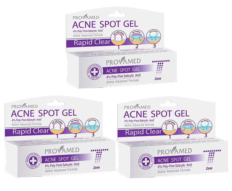 ใช้ได้ผลจริง Provamed Rapid Clear Acne Spot Gel 10 g.แพ็ค3ชิ้น ครีมหน้าใสจากธรรมชาติ
