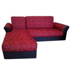 ซื้อ Pt โซฟา L Shape หุ้มผ้าลายวงกลม Bedข้างขวา รุ่น Buno สีแดง ถูก