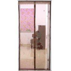 ราคา Pun Baby ม่านประตูแถบแม่เหล็กกันยุง แม่เหล็ก7จุด ลายดอกไม้ สีน้ำตาล Pun Baby