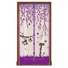 ส่วนลด Punpuntoys ม่านประตูแถบแม่เหล็กกันยุง แม่เหล็ก 7 จุด ลายลิงน้อย สีม่วง