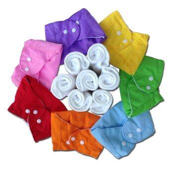 Qianquhui กางเกงผ้าอ้อมซักได้สีพื้น เซ็ต 7 ตัว + แผ่นซับไมโครไฟเบอร์ (หนา3ชั้น) 7 แผ่น