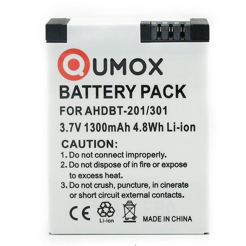 Qumox แบตเตอรี่ AHDBT-201 301 Lithium Li-on Digital Battery 1300mAh สำหรับ GoPro Hero3 3+