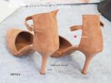 ส่วนลด สินค้า รองเท้าส้นสูงหนังกลับรัดข้อ Code Bb7616 Velvet Heel Shoes สีน้ำตาล Brown