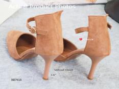 ราคา รองเท้าส้นสูงหนังกลับรัดข้อ Code Bb7616 Velvet Heel Shoes สีน้ำตาล Brown เป็นต้นฉบับ