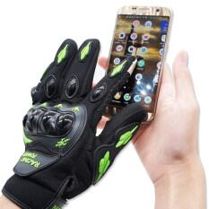 ขาย ซื้อ Racing Power ถุงมือเต็มนิ้ว พร้อมกาด รุ่น ทัชสกีน สีเขียว