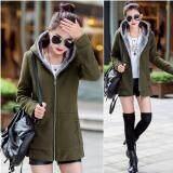 ราคา Ready4Girl เสื้อแจ็คเก็ตกันหนาว มีฮู้ด ซับผ้าขนนุ่ม สีเขียวขี้ม้า ถูก