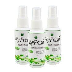 ราคา Refresh Deodorant Spray สเปรย์ระงับกลิ่นกาย สูตรไม่มีกลิ่น 60Ml แพ็ค 3 ขวด สีเขียว ใหม่