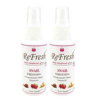 Refresh Deodorant Spray (สูตร Extra Care)(WhiteningAnti-aging)No Purfume 60 ml.(แพ็ค2ขวด)