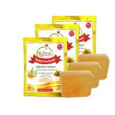 Refresh Herbal Deodorant Soap สบู่สมุนไพรระงับกลิ่นกายรีเฟรช 3ชิ้น 90G ไทย