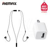 ซื้อ Remax หูฟังกันน้ำ หูฟังกันเหงื่อ หูฟังบลูทูธไร้สาย Bluetooth Small Talk รุ่น Rb S8 Black Usb Adapter Charger 5V 1A White Remax