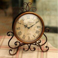 Retro Vintage Metal Clock Home Decoration Table Clock Ornament Battery Power Brown Intl ใหม่ล่าสุด