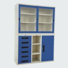 ขาย Rf Furniture ตู้เอกสารเหล็กบานเลื่อน ประตู้ลิ้นชัก2ชั้นบน ล่าง ขนาด120ซม รุ่น 1B6L A สีน้ำเงิน ครีม ออนไลน์ ใน กรุงเทพมหานคร