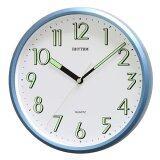 Rhythm นาฬิกาแขวนผนัง ตัวเลขมีพรายน้ำ รุ่น Cmg727Nr04 สีบอร์นฟ้า เป็นต้นฉบับ