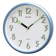 ราคา Rhythm นาฬิกาแขวนผนัง ตัวเลขมีพรายน้ำ รุ่น Cmg727Nr04 สีบอร์นฟ้า Rhythm
