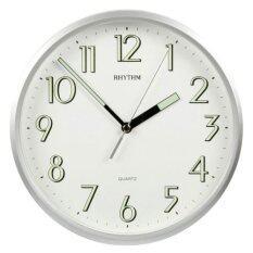 ขาย Rhythm นาฬิกาแขวนผนัง ตัวเลขมีพรายน้ำ รุ่น Cmg727Nr19 สีบอร์นเงิน ถูก