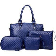 Richcoco กระเป๋าแฟชั่นเกาหลี กระเป๋าสตางค์ผู้หญิง กระเป๋าสะพายข้าง กระเป๋าอเนกประสงค์ขนาดเล็ก เซ็ต 4 ใบ สีน้ำเงิน ใหม่ล่าสุด