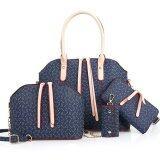 ราคา Richcoco กระเป๋าแฟชั่นเกาหลี กระเป๋าสตางค์ผู้หญิง กระเป๋าสะพายข้าง กระเป๋าใส่พวงกุณแจ เซ็ต 4 ใบ สีน้ำเงิน