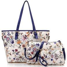 ขาย Richcoco กระเป๋าแฟชั่นเกาหลี กระเป๋าถือผู้หญิง กระเป๋าสะพายข้าง เซ็ต 3 ใบ สีน้ำเงิน Richcoco
