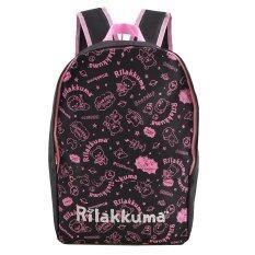 โปรโมชั่น Rilakkuma กระเป๋าเป้ กระเป๋านักเรียนสะพายหลัง สีดำคาดชมพู ถูก