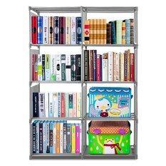 Room Story ชั้นวางหนังสือ 4 ชั้น 2 บล็อค  Bookcase 8 ช่อง (สีเทา).