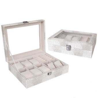 Room Story กล่องใส่นาฬิกา Leather Watch & Jewelry Box (สีขาว ลายจระเข้เขียว /เบจ)-