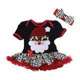 ความคิดเห็น Rorychen Girls Santa Claus Printed Dress With Big Bowknot Headband Red