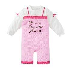 Rorychen Infant Girls Long Sleeved Polka Dot Jumpsuits Pink ถูก