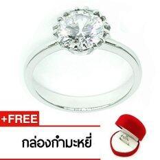 ขาย Royal Crown Jewelry Stainless Steel 316L แหวนประดับเพชร Cz ขาว อย่างดี รุ่น The Best 3005 สี Silver Royal Crown ออนไลน์