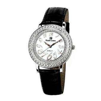 Royal Crown นาฬิกาข้อมือผู้หญิง สายหนังแท้ ประดับเพชร cz อย่างดี รุ่น 3632M (Black)