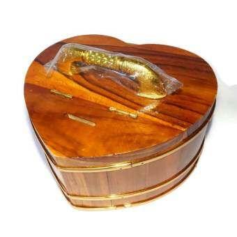 RTTถังกระปุกออมสินไม้สักทอง ทรงหัวใจ ไซส์ใหญ่