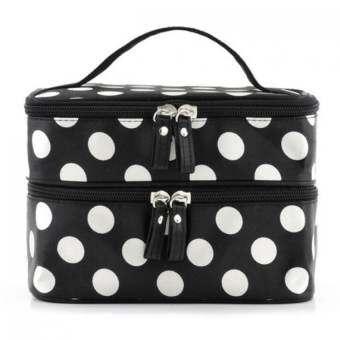 Sanwood Wave Dot Makeup Storage Bag สีดำ